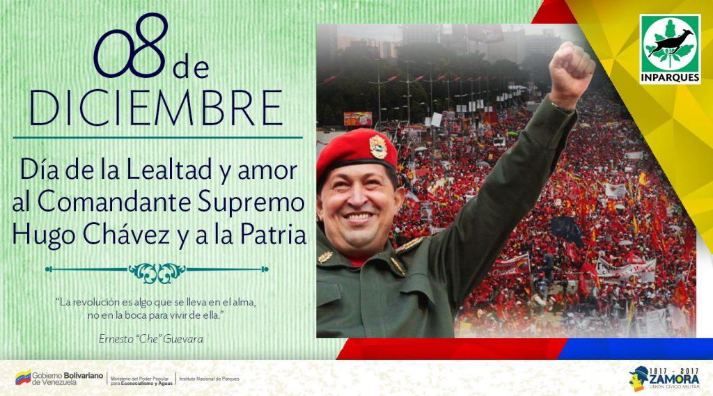 Día de la lealtad y amor al Comandante Supremo Hugo Chávez y a la Patria se celebra hoy 8 de diciembre
