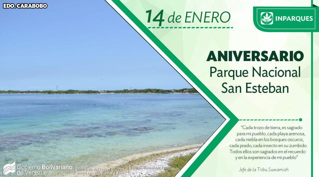 Parque Nacional San Esteban está de aniversario este 14 de enero