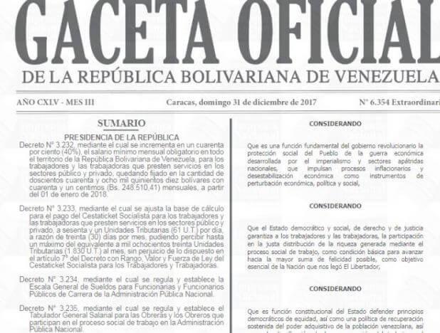 Oficializado en Gaceta aumento del salario mínimo y bono de alimentación