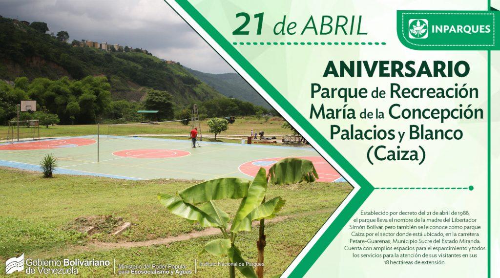 Parque Recreacional María de la Concepción Palacios y Blanco celebra 30 años de fundado